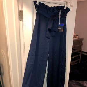 Missguided Long Satin Paperbag Style Pants